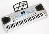 Sky 0754235506546 Tastatur und Piano für Kinder 54 Tasten mit Mikrofon, Netzteil, Notenauflage silber -